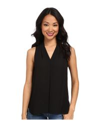 Vince Camuto - Black Sleeveless V-neck Blouse W/ Inverted Front Pleat - Lyst