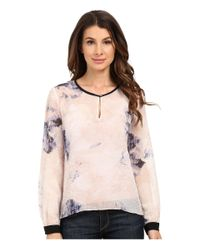 Ellen Tracy - Multicolor Keyhole Flared Blouse - Lyst