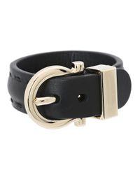 Ferragamo - Black Gancio Leather Bracelet - Lyst