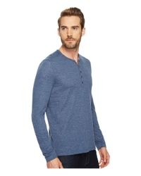 John Varvatos - Blue Long Sleeve Henley W/ Coverstitch Detail K3459t4b for Men - Lyst