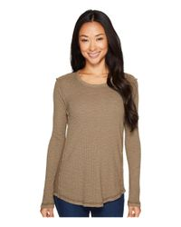 Dylan By True Grit - Brown Softest Slub Waffle Hi-lo Thermal Crew With Slub Insert - Lyst