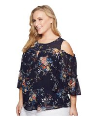 Lucky Brand - Blue Plus Size Printed Cold Shoulder Top - Lyst