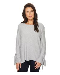 Two By Vince Camuto - Gray Long Sleeve Flutter Tie Cuff Side Stitched Sweater - Lyst