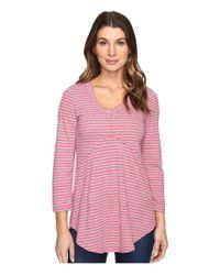 Mod-o-doc - Pink Brushed Slub Stripe 3/4 Sleeve V-neck Tunic - Lyst