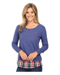 U.S. POLO ASSN. - Blue Crew Neck Sweater Twofer Shirt With Plaid Hem - Lyst