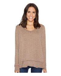 Mod-o-doc - Brown Luxe Sweater Knit Forward Seam Long Sleeve Sweater - Lyst
