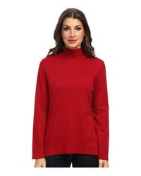 Pendleton - Red L/s Mock Neck Cotton Rib Tee - Lyst