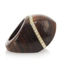 Finds Brown + Catherine Prevost 18-Karat Gold, Cocobolo Wood And Diamond Ring