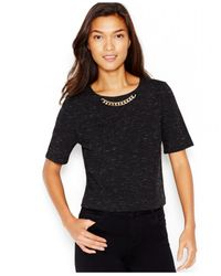 Kensie | Black Embellished Short-sleeve Top | Lyst