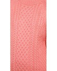 Apiece Apart Anni Crewneck Fisherman Sweater - Flamingo Pink
