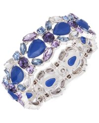 Nine West | Blue Silver-tone Bright Stone Stretch Bracelet | Lyst