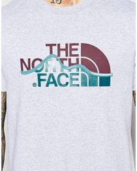 The North Face Gray T-shirt With Mountain Line Logo for men