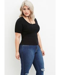 Forever 21 | Black Classic Ribbed Top | Lyst