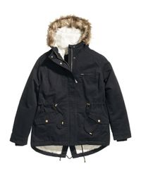 H&M Black + Parka With Pile Lining