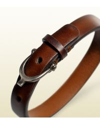 Gucci | Brown Leather Bracelet with Stirrup Buckle for Men | Lyst