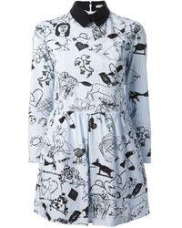 Carven - Blue Striped Tattoo Print Dress - Lyst