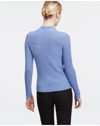 Ann Taylor | Blue Mock Neck Sweater | Lyst
