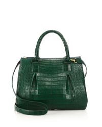 Nancy Gonzalez | Green Medium Crocodile Plisse Satchel | Lyst