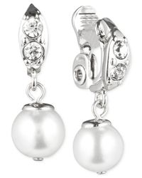 Anne Klein | Metallic Silver-tone Crystal And Glass Pearl Clip-on Earrings | Lyst