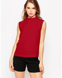 Vero Moda - Red High Neck Sleeveless Blouse - Lyst