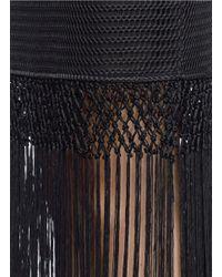 Self-Portrait Black Graphic Fringe Bandeau Panel Dress