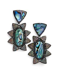Kendra Scott | Blue 'Auden' Stone & Drusy Drop Earrings - Abalone Drusy | Lyst