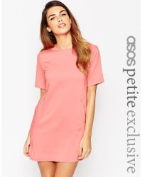 ASOS - Pink Petite Shift Dress With Pockets - Lyst