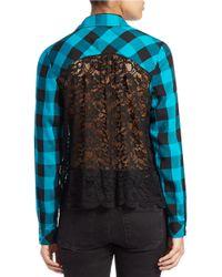 Kensie Blue Plaid Lace-back Shirt