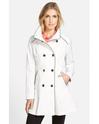 Guess White Piped Stand Collar Trench Coat