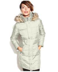 DKNY White Hooded Faux-Fur-Trim Down Coat