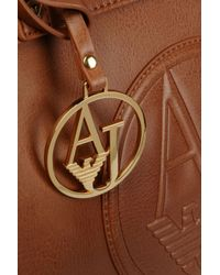 Armani Jeans Natural Shopping Bag in Faux Leather with Charm