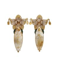 Wendy Yue Metallic Rutilated Quartz Earrings