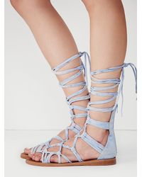 Free People | Blue Jeffrey Campbell X Womens Brechenridge Mid Glad San | Lyst