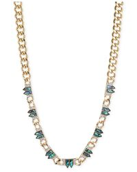 RACHEL Rachel Roy | Green Gold-tone Abalone Curb Chain Frontal Necklace | Lyst