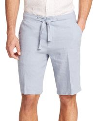 Saks Fifth Avenue | Blue Linen Drawstring Shorts for Men | Lyst