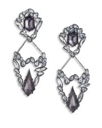 Alexis Bittar | Black Miss Havisham Liquid Crystal Pyrite & Crystal Broken Glass Clip-on Drop Earrings | Lyst