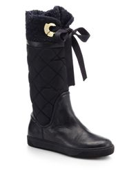 Moncler Black Judith Tweed-Cuff Quilted Boot