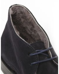 Jules B - Blue Mens Suede Shearling Lined Chukka Boots for Men - Lyst