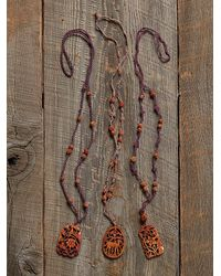 Free People - Brown Vintage Carved Wood Necklace - Lyst