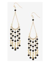 Express | Black Glass Bead Dangle Earrings | Lyst