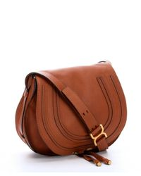 chloe marcie medium saddle bag - tan