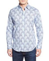 Bugatchi - Blue Shaped Fit Paisley Sport Shirt for Men - Lyst