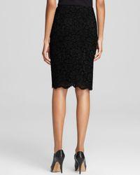 Vince Camuto Black Floral Lace Pencil Skirt