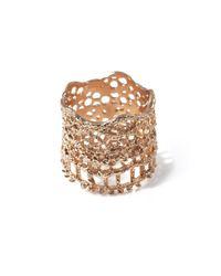 Aurelie Bidermann - Metallic Rose Gold-Plated Lace Ring - Lyst