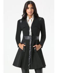 Bebe Black Ita Fit & Flare Trench Coat