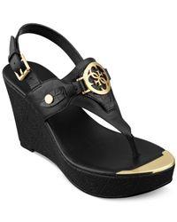 Guess - Black Marcina Platform Wedge Thong Sandals - Lyst