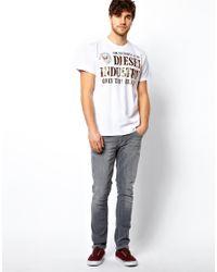 DIESEL - White Tshirt Tlappa Foil Logo for Men - Lyst