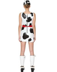 Moschino White Cow Motif Nappa Leather Dress