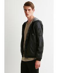 Forever 21 - Black Hooded Bomber Jacket for Men - Lyst
