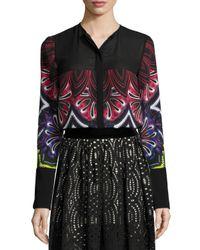 Just Cavalli - Black Long-sleeve Variant-print Blouse - Lyst